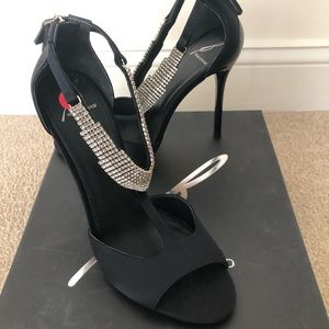 B Brian Atwood Black Loreto Satin Crystal Pump